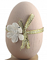 1 wooden Easter egg light pink/gold for candlerings, h 6 cm (copy)