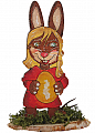 Lasercut Easter hare mother on a wood plate, for candlerings, H 10 cm, 6 mm wood plug