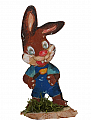 Lasercut Easter hare boy on a wood plate, for candlerings, H 8 cm, 6 mm wood plug
