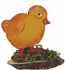 Chicken yellow on a wood plate, for candlerings, H 6 cm