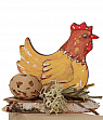 Hen yellow sitting on a wood plate, for candlerings, H 5 cm