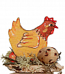 Hen yellow running on a wood plate, for candlerings, H 5 cm