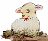 Lamb white on a wood plate, for candlerings, H 5 cm