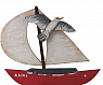 Sailing boat red with flying sea gull, h 6,5 cm