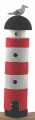 Wooden light house red with sea gull, h 14 cm