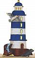 big lasercut light house blue with a sea gull, beach chair, seal, h 15 cm