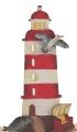 big lasercut light house red with a sea gull, beach chair, seal, h 15 cm