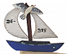 Sailing boat blue with flying sea gull, h 6,5 cm