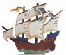 Three-master lasercut blue with flying sea gull, h 9 cm