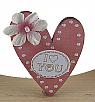 lacercut heart with flower, light pink, H 5 cm