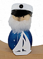 Captain with white sailing boat dark blue, H  8 cm