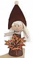 Herbstwichtel Mädchen mit Ahornblatt u. Filzmütze, glitterbraun