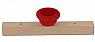 Sebastian design wooden slate with big  tealight holder red