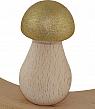big wooden Mushroom, gold glitter, h 6,8 cm