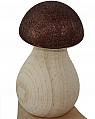 big wooden Mushroom, cocoa glitter, h 6,8 cm