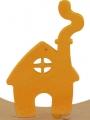 Sebastian design maison jaune, h 9 cm, pour des couronnes de bois