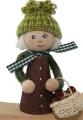 Autumn boy with mushroom basket, knitted hat, dark brown, h 11 cm