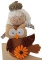Autumn child with owl, h 10 cm