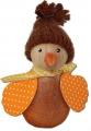 Autumn bird with knitted hat, orange glitter, h 6 cm