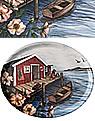 Ovales Tablett Vänner pa bryggan, 25x33 cm