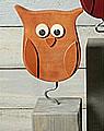 Talvel große Eule massiv mit Metallstab orange braun