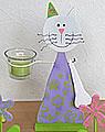Teelichthalter Katze lila/weiß
