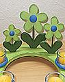wood plug set marguerite green, 3s set