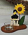 Tealight holder raven with sunflower