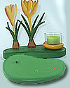 Talvel wooden plate d. green  without figures and tealight holde