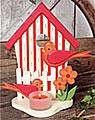 tea light holder bird house orange